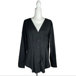 Express Black Button Down Career Dress Shirt VNEck